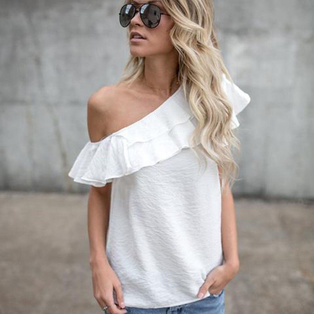 b0e3390cb776f4 MUQGEW Fashion Women Loose One Shoulder Tops sweet Ruffled solid female  ladies t Shirt Summer Casual T shirt top-in T-Shirts from Women's Clothing  ...
