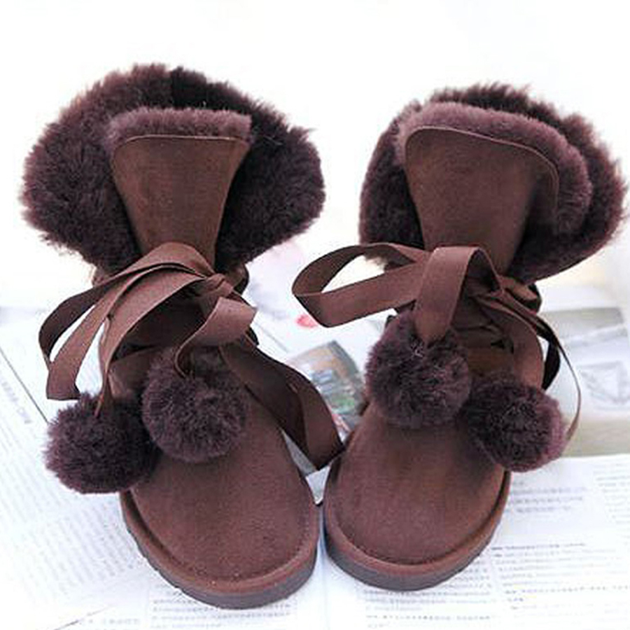 2018 New Fashion Women Snow Boots Warm Wool Boots 100% Natural Fur Winter Boots Genuine Sheepskin Leather Women Boots