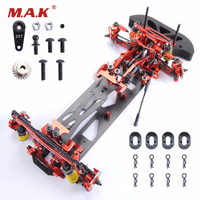 1/10 Alloy & Carbon Fiber 078055B G4 RC 4WD HSP Drift Racing Car Frame Body Kit RC Control Car DIY Red Blue and Black