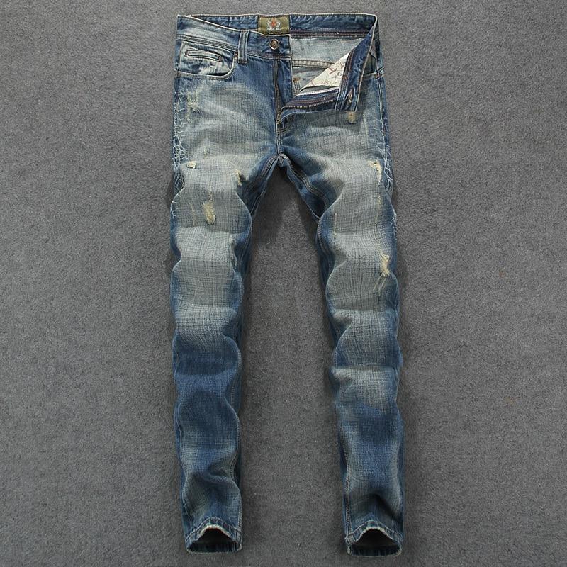 High Quality Spring Summer Stylish Fashion Men Jeans Denim Slim Fit Stripe Jeans Mens Pants Destroyed Ripped Jeans Size 29-38 mid stripe punk men s blue jeans ripped slim fit denim pants male high quality vintage brand clothing moto jeans men rl608