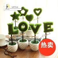 Small Potted Artificial Flowers Artificial Flower Potted Plant Small Green Suit Desktop Ornaments Creative Home Decoration