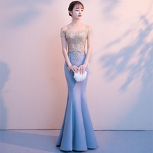 Trumpet Evening Dress Sexy Boat Neck Embroidery Mermaid Formal Prom Gowns Gold Lace Short Sleeves Backless Party Dresses E330 цены