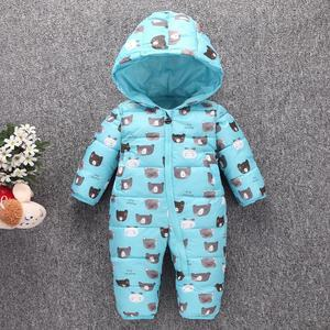Image 2 - Toddler Baby Down Cotton Cartoon Rompers Newborn Baby clothes snow suit  Winter Thick Warm Children Clothing