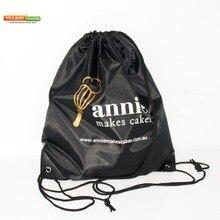 100 sztuk/partii niestandardowe dzieci tkaniny torby ze sznurkiem z nadrukiem Logo paseczkowy plecak torba dla dziewczynek