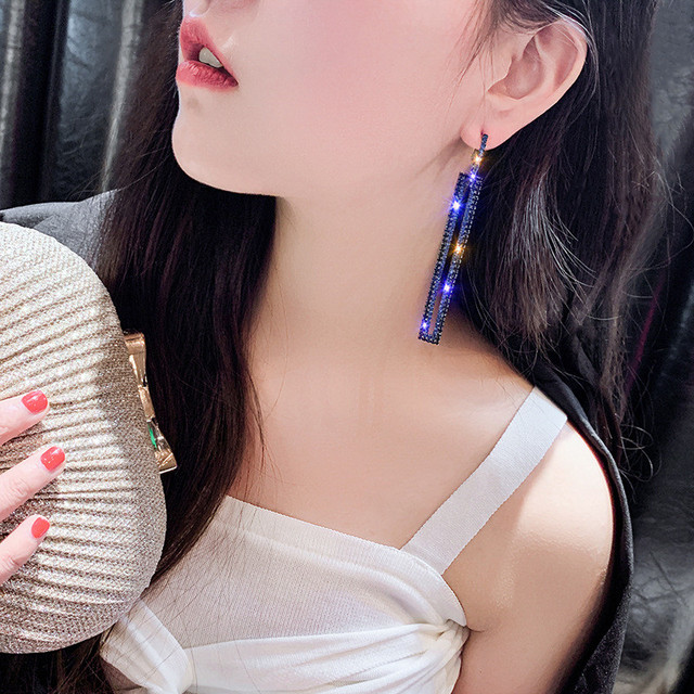 FYUAN Fashion Long Geometric Drop Earrings Luxury Gold Silver Color Rectangle Rhinestone Earring for Women Party Jewelry Gift 3