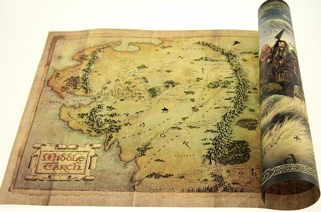 hobbit retro kraft paper map classic movie poster vintage wall art crafts sticker living room paint