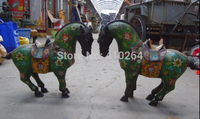 Free Shipping $wholesale_jewelry_wig $ 15 Inch China bonze cloisonne carved green flower horse pair Sculpture statue