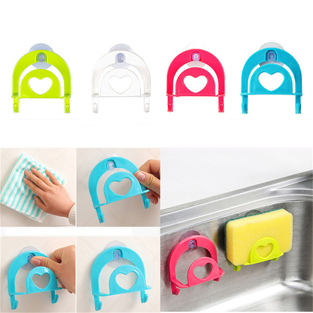 Durable Suction Cup Soap Dish Holder Sponge Drying Shelf Sink Hanging Toilet Storage With Hooks For Bathroom Kitchen Orangnizer