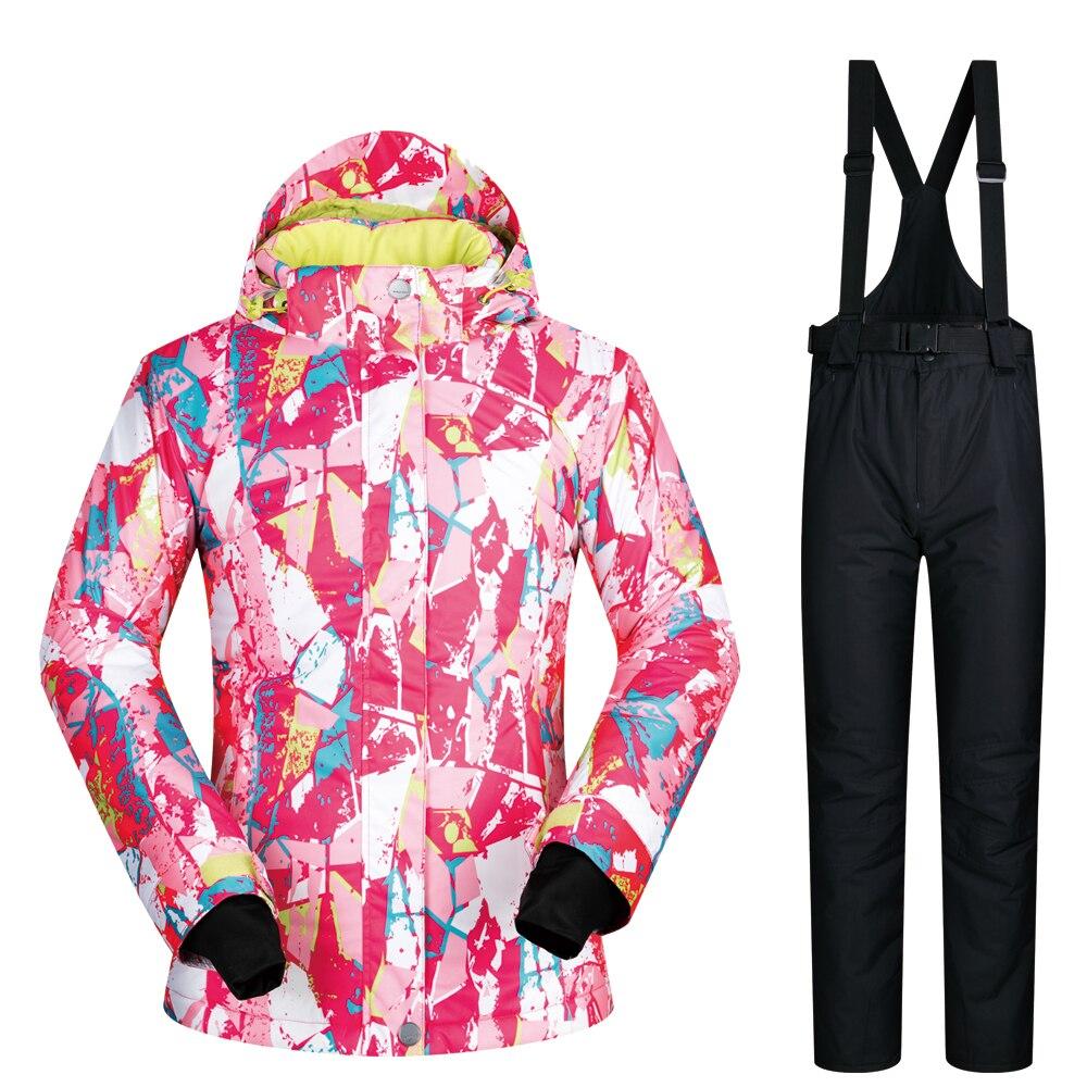 Snowboard costumes femmes 2019 nouveau ensemble sous-vêtements en plein air Ski ensemble neige femme coupe-vent imperméable hiver femmes veste de Ski marques - 2