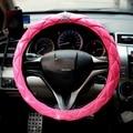 Rosa serie cubierta del coche cubierta del volante del diamante de Lujo de la reina para las mujeres universal fit diámetro 38 cm volante
