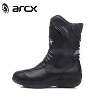 Women Motorcycle woman's Boots Genuine Cow Leather Waterproof boot Moto Racing Motorcross Black Boots