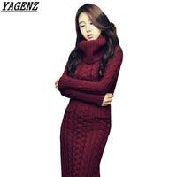 Women Knitted Sweater Dress Korean Autumn Winter High Collar Twist Sweater Dress Warm Slim Knitted Long