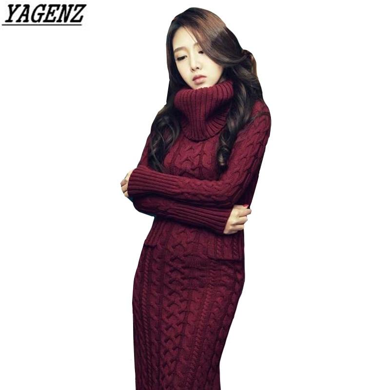 Women Knitted Sweater Dress Korean Autumn Winter High Collar Twist Sweater Dress Warm Slim Knitted Long Dress Female YAGENZ K322