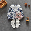 2016 Kids Girls Clothes Baby Long Sleeve Flowers Dress Baby Girl Casual Princess Dresses Spring Baby Girls Clothing