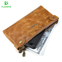 FLOVEME Genuine Leather Wallet Case For IPhone 6 6s Plus 7 7 Plus Samsung S8 S8