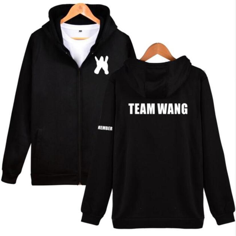 Hip Hop Fashion Brand Clothing K-POP KPOP GOT7 jackson Team Wang The Same Fleece Zipper Hooded Jacket Women Hoodie Sweatshirt