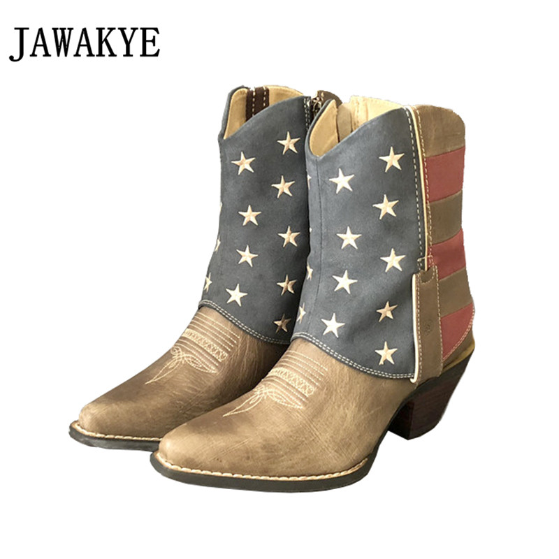New pointed toe short boots five stars decor riding knight boots 2018 patchwork western cowboy Motorcycle boots shoes for laies stylish letter labelling embellished five pointed stars pu baseball cap for women