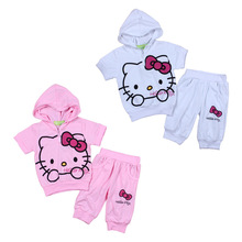 Retail new girls sportswear children's summer fashion casual short pants and hoodies baby clothes selling for 1-5 years old