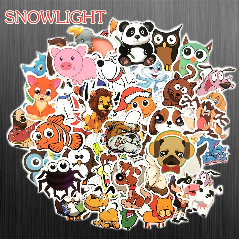 50 Pcs Cute Animal Stickers For Children DIY Laptop Luggage Guitar Phone Bicycle Skateboard Decals Kawaii Anime Cartoon Stickers