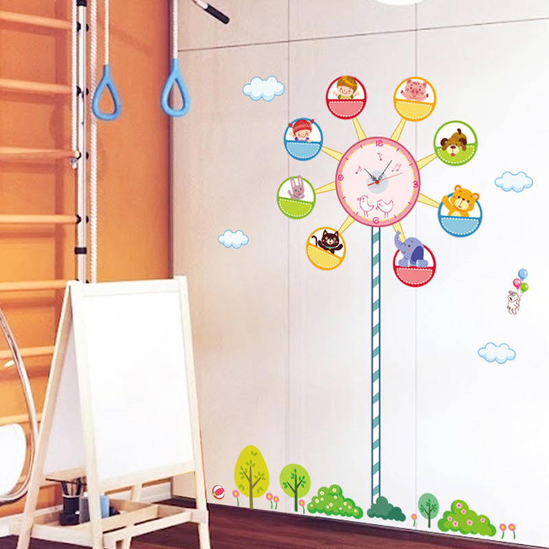 Fashion Creative DIY Home Decoration PVC Wall Sticker with Clock Ferris Wheel for Kids Room Wall Art Decals Free Shipping