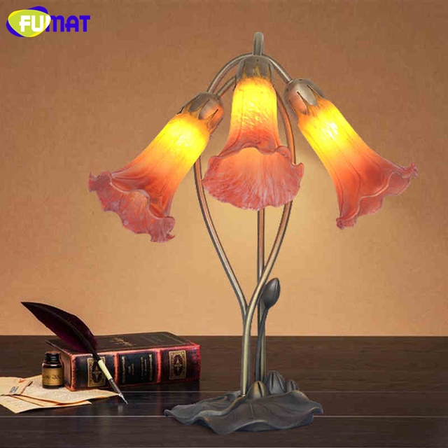 Antique Glass Lily Table Lamp Artistic Creative Amber /Red Shade Stand  Lights Living Room Store