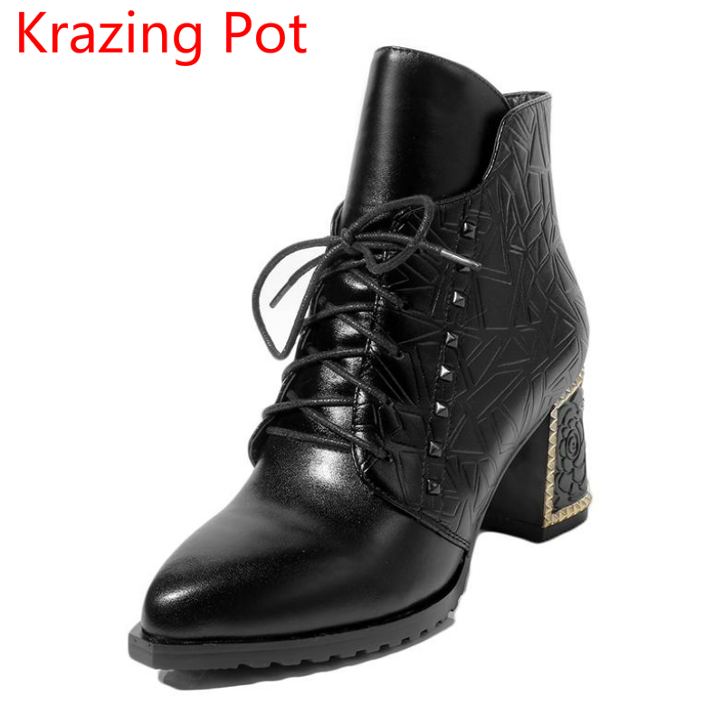2018 New Arrival Superstar Genuine Leather Pointed Toe Thick Heel Fashion Winter Shoes Rivets Lace Up Runway Ankle Boots L7f4  new arrival genuine leather pointed toe fashion winter boots rivets thick heel slip on chelsea boots handmade ankle boots l93