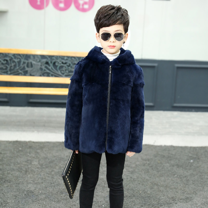 2018 new children 39 s natural rabbit fur leather hooded fur jacket boys really rabbit fur full length long coat TTH 0164 in Jackets amp Coats from Mother amp Kids
