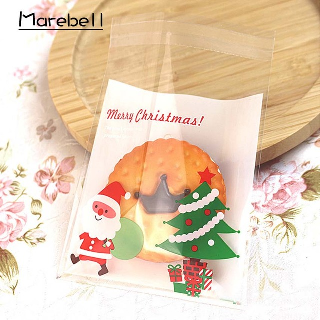 Us 1 35 15 Off Marebell Christmas Cookies Packing Bags 10 10cm 50pcs Christmas Party Cartoon Santa Claus Biscuit Waffle Baking Packaging In Gift