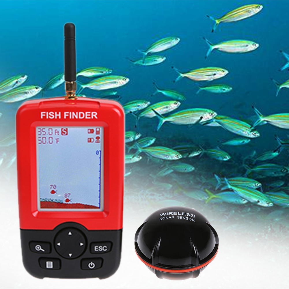 Color LCD Wireless Sonar Sensor Fish Finder Portable Wireless Receiver Sonar Transducer Fishing Alarm Depth Fish Locator lucky ffw1108 1 color lcd display portable wireless sonar fish finder water resistant 40m 120ft depth sonar sounder alarm b9