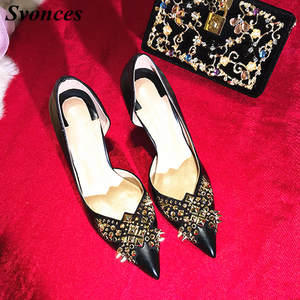 a3008f5b2b5c Svonces Sexy High Heels Women Black Leather Pumps Lady