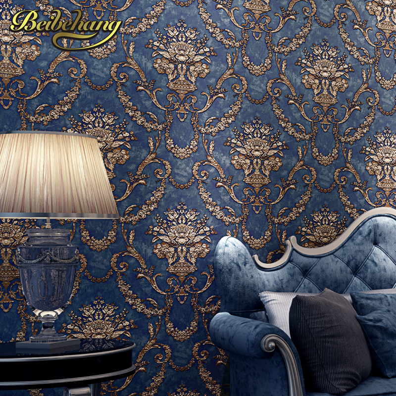 Beibehang wall paper papel de parede luxury fashion high for Navy blue wallpaper for walls