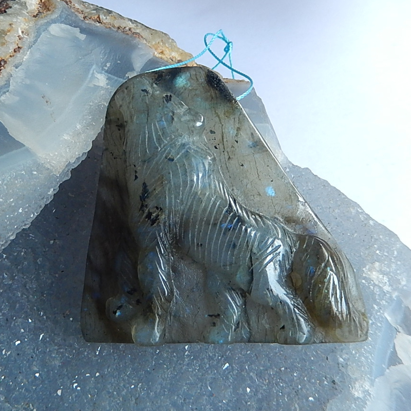Natural Stone Carved Animal Labradorite Necklace Pendant Bead 52x51x13mm 42.3g fashion jewelry birthday gift accessory natural stone larimar carved flower fashion jewelry necklace pendant 72x42x32mm 83 2g