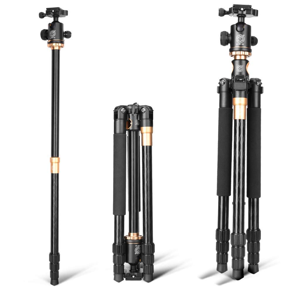 Image 2 - Cadiso Q999H Professional Video Camera Tripod 61 Inch Portable Compact Travel Horizontal Tripod with Ball Head for Camera-in Live Tripods from Consumer Electronics