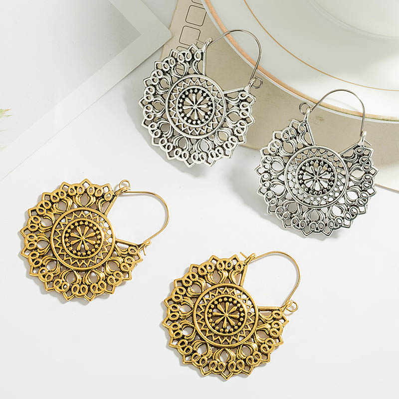Indian Tribal Messing Ohrring Baumeln Ohrring Blume Verzierten Gypsy Ohrring Für Frauen Boho Vintage Ohrring pendientes mujer