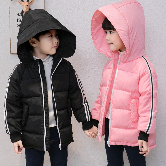 e6ff9788cc48 hooded long jackets for girls boys warm coats children thick padded ...