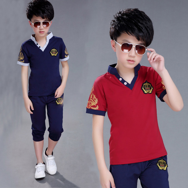 Kids Boys summer Clothes Set big Boy Clothing T-shirt polo Tops+Long Pants fashion children Outfits Set 2pcs 4 6 8 10 12 years 2pcs baby kids boys clothes set t shirt tops long sleeve outfits pants set cotton casual cute autumn clothing baby boy