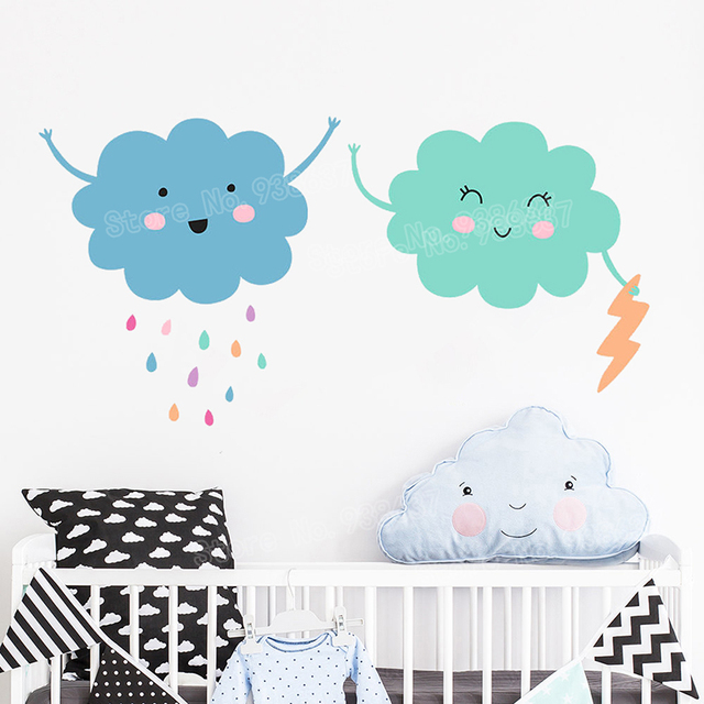 Kids Room Rain Cloud Wall Stickers Multicolor Raindrop Vinyl Wall Decals  For Baby Nursery Cute Decor