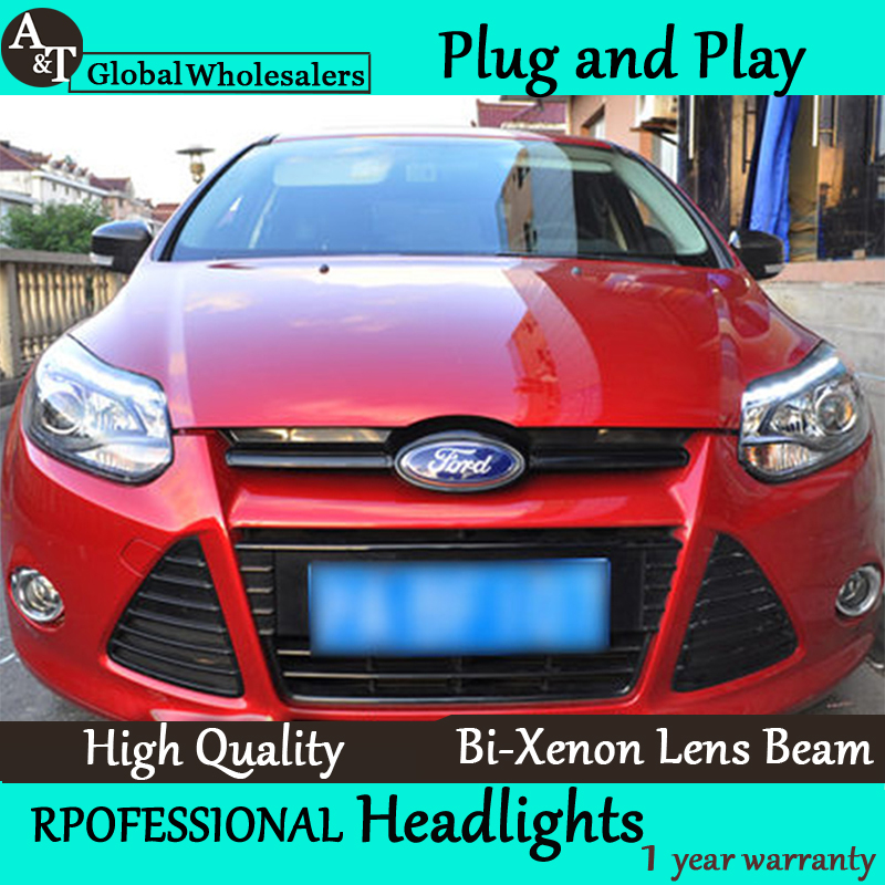 Car Styling for Ford Focus Headlights ST Style LED Headlight DRL Lens Double Beam H7 HID Xenon bi xenon lens led headlight drl lens double beam bi xenon hid projector lamp rh lh for ford focus 2015 2016 2017 d2h 5000k 35w hi low beam