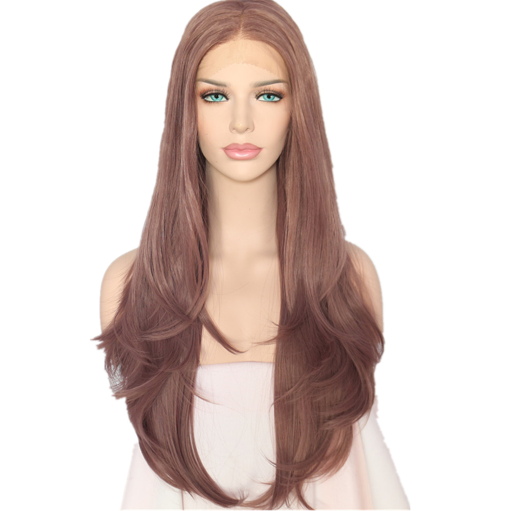 BeautyTown Light Coffee Color Masquerade Cosplay Blogger Daily Makeup Synthetic Lace Front Wedding Party Wigs For