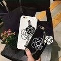 Стильный Симпатичные Девчушки Камелии Украшения Белый Черный PC Hard Case крышка для iPhone 6 6 s 6 Plus 6 sPlus 7 7 Плюс Телефон Case