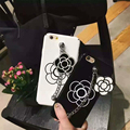 Stylish Cute Girly Camellia Ornaments White Black PC Hard Case Cover for iPhone 6 6s 6Plus 6sPlus 7 7Plus Phone Case
