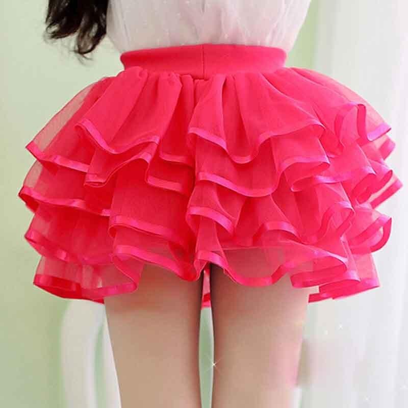 0f166e86d € 16.85 |Chicas Lindas Faldas Hermosas Faldas Cortas Para Las Niñas de  Encaje Plisado de Baile Vestidos de Bola Con el Arco Rosado Rojo Blanco  Para ...