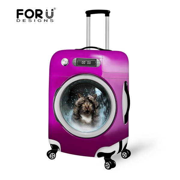 Stylish Animal Protective Case Waterproof Luggage Cover for Travel 18-30 inch Trolley Suitcase Elastic Dust Rain Cute Cat Cover