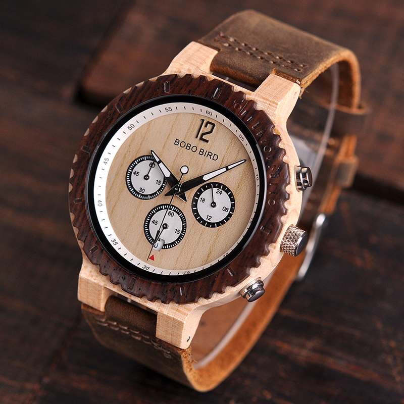 Image 2 - BOBO BIRD Wooden Watch Men Relogio Masculino Luxury Stylish Timepieces Chronograph Military Quartz Watches Great Gift for Men-in Quartz Watches from Watches