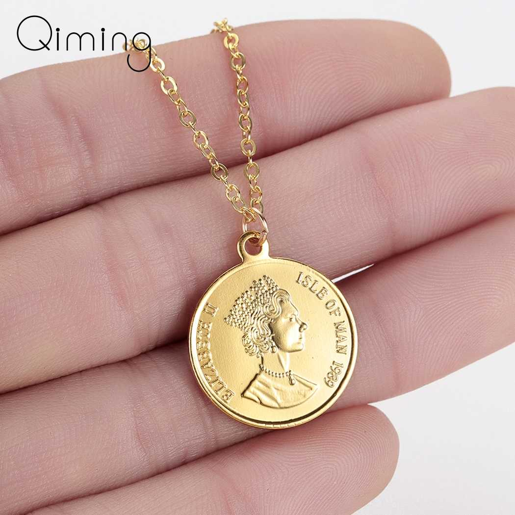 Woman Coin Necklace Golden Color Ten Cents Coin Sea Spirit Ngoreru Elizabeth Isle Of Women Statement Necklace Collier Gift
