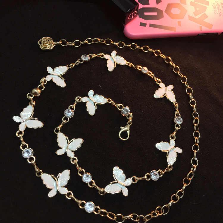 BrandHot fashion rhinestone Butterfly clover Metal Lady Waist chain Belt  women dress garnish cinto feminino fivelas 32397b1619dd