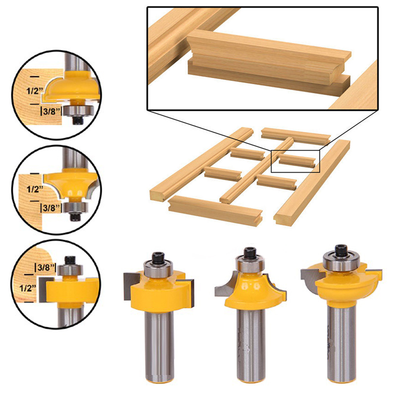 3pcs/set Glass Door Router Bits Set Round Over Bead 1/2 inch Shank