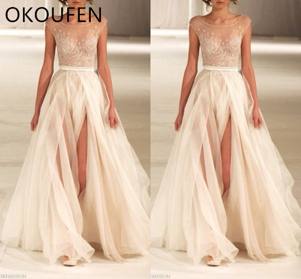 d8f1523584 Prom Dresses 2019 Sleeveless See Through Side Split Formal Long Sexy  Evening Gowns Red Carpet Celebrity