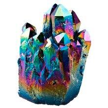 Rainbow Flame Aura Titanium Quartz Crystal Cluster Drusy Geode Gem Stone Energy Healing Specimen Decoration