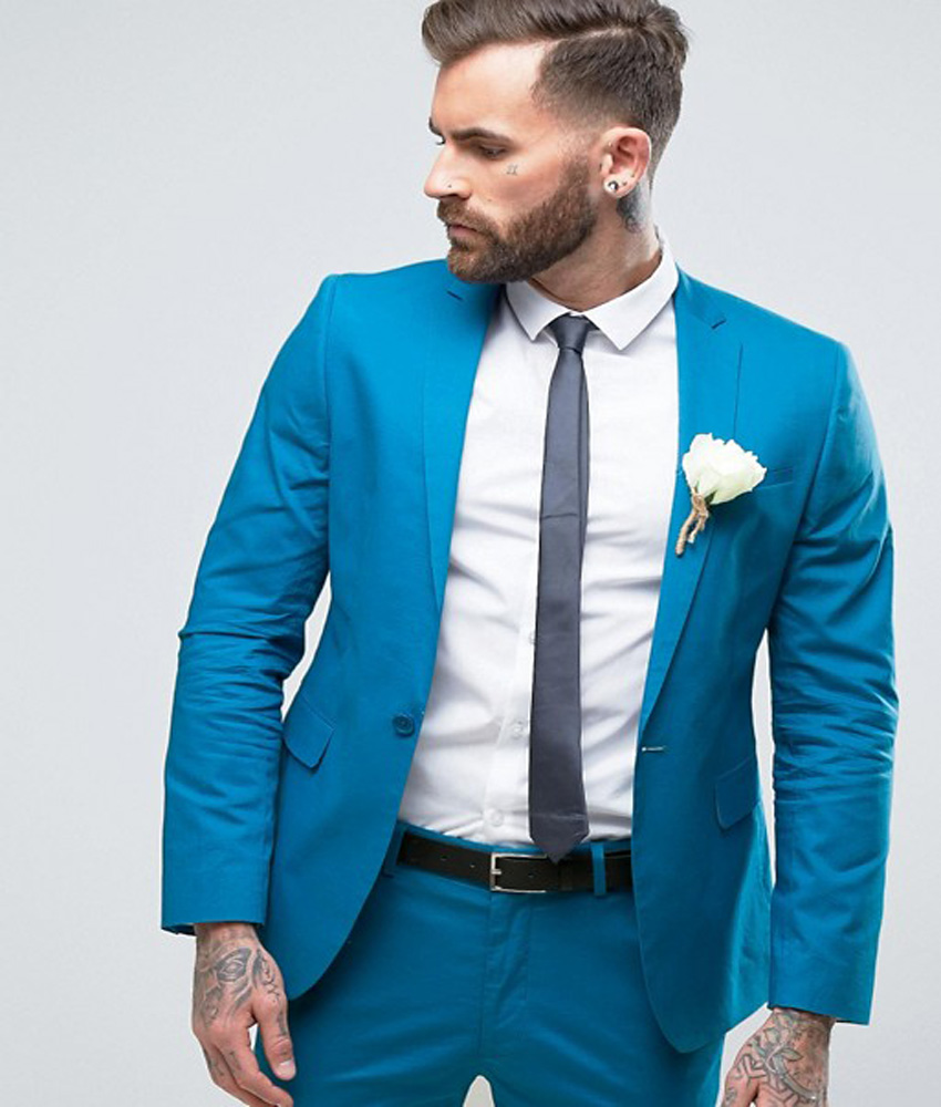 2018 Wedding Suits Skinny Suit Custom Made Man Suit Cotton Groom ...